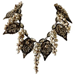 Miriam Haskell Pearl Grape Cluster Diamante Festoon Statement Necklace