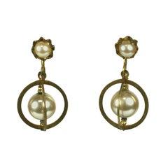 Miriam Haskell Pearl Orbit Earclips