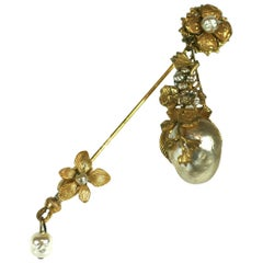 Miriam Haskell Pendant Stick Pin Brooch