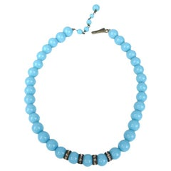 Miriam Haskell Robin's Egg Blue Necklace 1940s