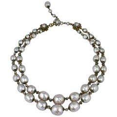 Miriam Haskell Rose Montee and Graduated Pearl Necklace