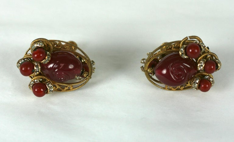 Miriam Haskell Ruby Pate de Verre and Diamante Earclips In Excellent Condition For Sale In Riverdale, NY