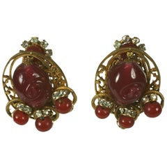Miriam Haskell Ruby Pate de Verre and Diamante Earclips