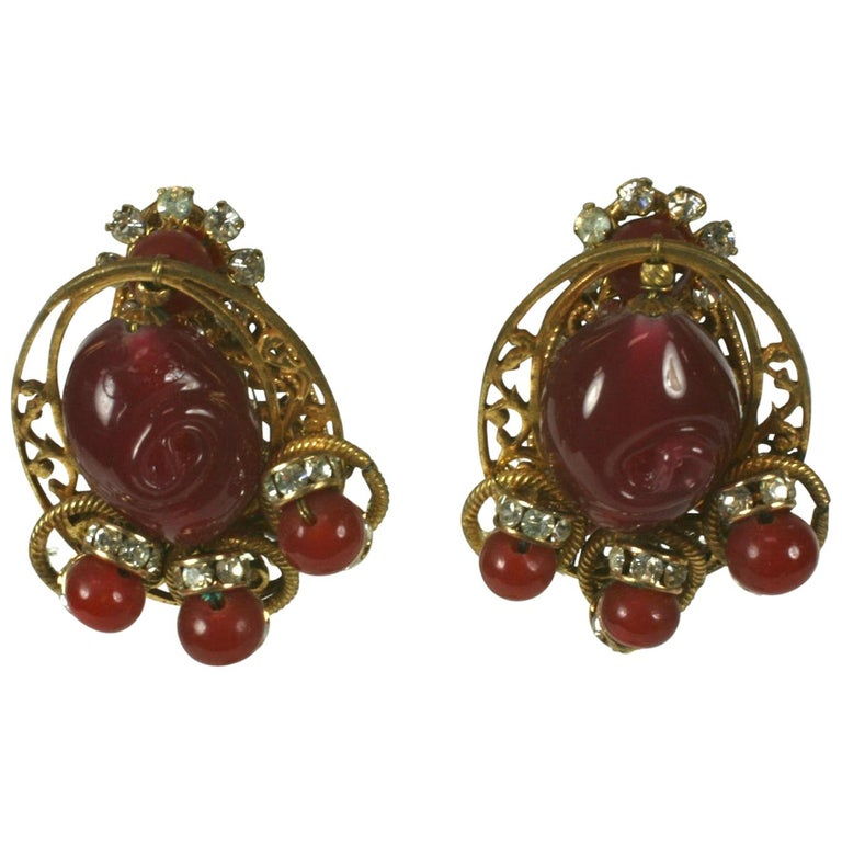 Miriam Haskell Ruby Pate de Verre and Diamante Earclips For Sale