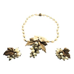 Miriam Haskell set necklace with ear clips signed 1950s USA