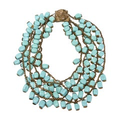 Miriam Haskell Turquoise Glass Bead and Metal Bib Necklace