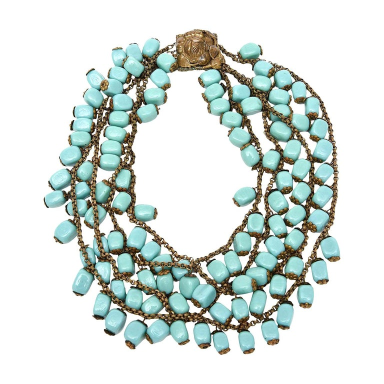 Miriam Haskell Turquoise Glass Bead and Metal Bib Necklace Vintage For Sale