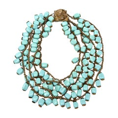 Miriam Haskell Turquoise Glass Bead and Metal Bib Necklace Vintage