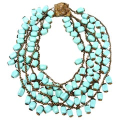 Miriam Haskell Turquoise Glass Bead and Metal Four Strand Necklace Vintage
