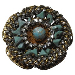 Miriam Haskell Vintage Gold Toned Brooch with Rhinestones