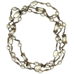 Miriam Haskell vintage long pearl Necklace 1950s