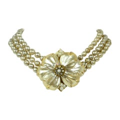 Miriam Haskell Vintage Three Strand Faux Pearl Choker Necklace w/ Flower