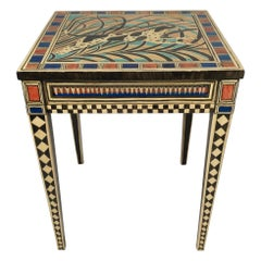 Miriam Riggs Folk Art Decorated Side Table