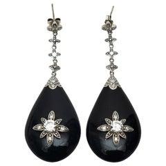 Miriam Salat Black Crystal Drop Earrings