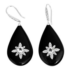 Miriam Salat Starbust Black Resin and Topaz Drop Earrings