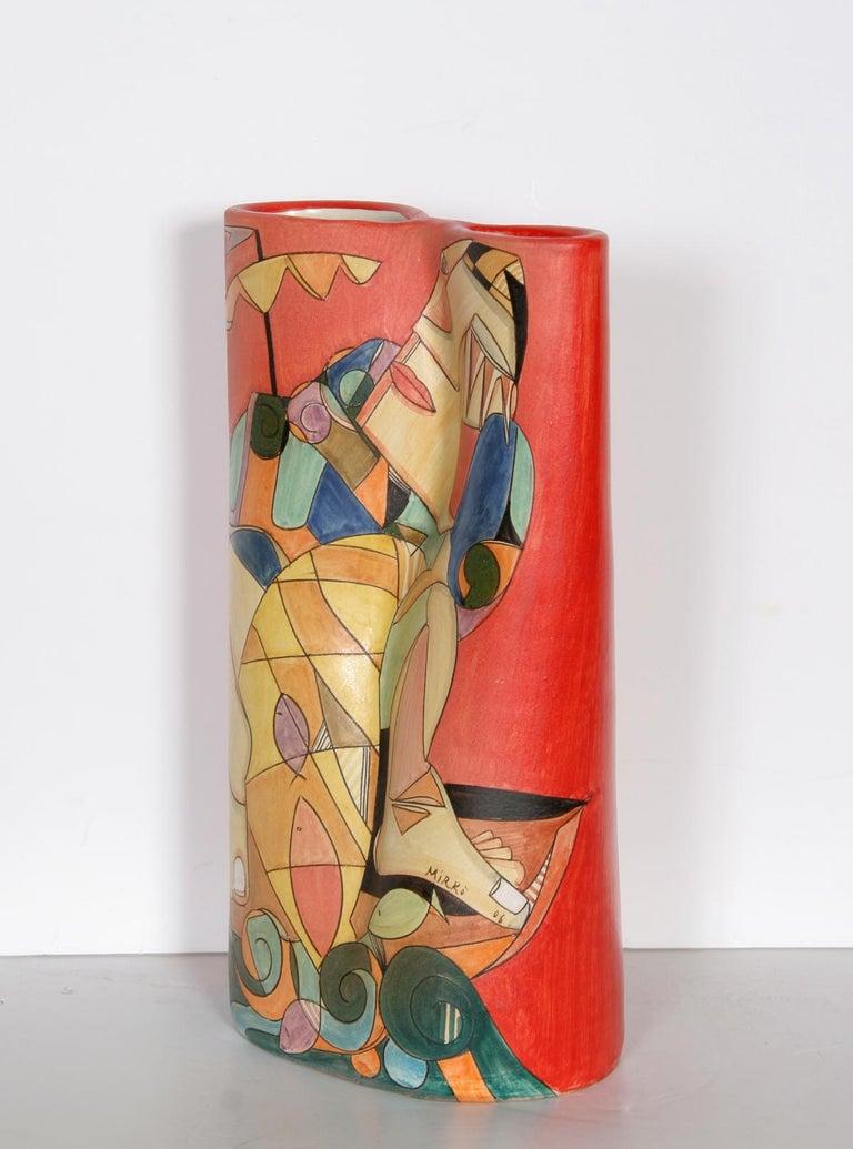 Fisherman II, Unique Painted Terracotta Vase by Mirko For Sale 1