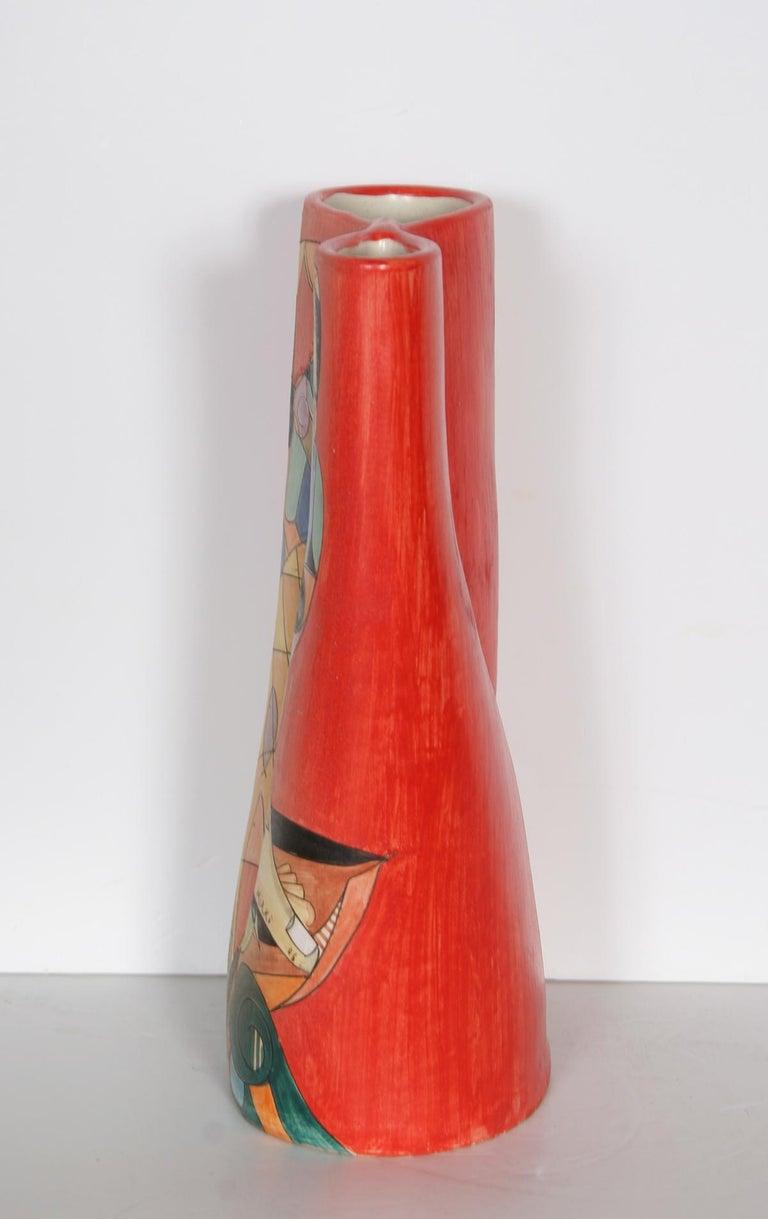 Fisherman II, Unique Painted Terracotta Vase by Mirko For Sale 2