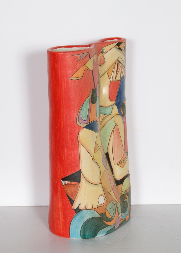 Fisherman II, Unique Painted Terracotta Vase by Mirko For Sale 4