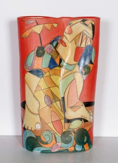 Fisherman II, Unique Painted Terracotta Vase by Mirko