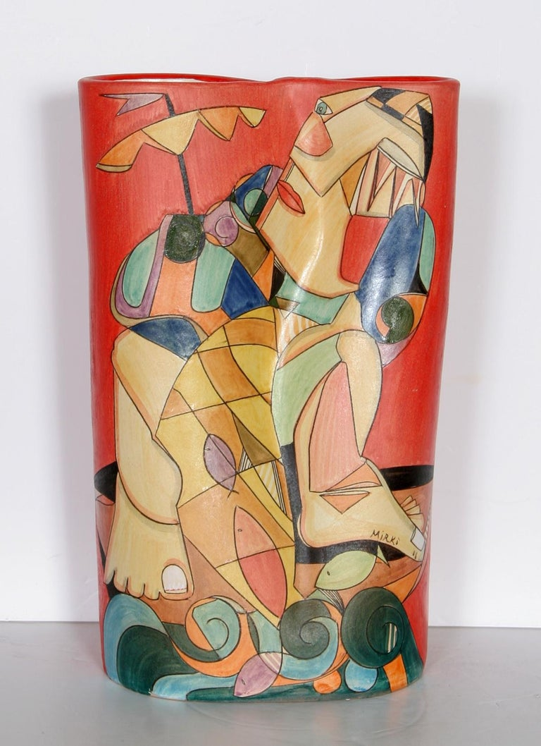 Artist: Mirkò, Italian (1980 - ) Title: Fisherman - II Year: 2006 Medium: Painted Terracotta Vase, signed and dated  Size: 15 in. x 8 in. x 5.5 in. (38.1 cm x 20.32 cm x 13.97 cm)