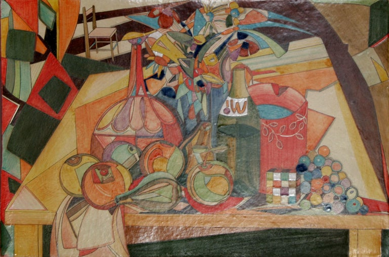 Artist: Mirkò, Italian (1980 - ) Title: Fruit and Rubix Cube Still Life Year: 2007 Medium: Painted Terracotta Plaque, signed and dated  Size: 15 in. x 23 in. x 0.75 in. (38.1 cm x 58.42 cm x 1.91 cm)