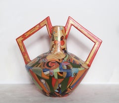 Vase delle Braccia, Hand-Painted Unique Terracotta Vase by Mirko