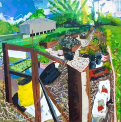 """Garden on Mars"" original acrylic on panel, bright, urban farm, by Miro Hoffman"