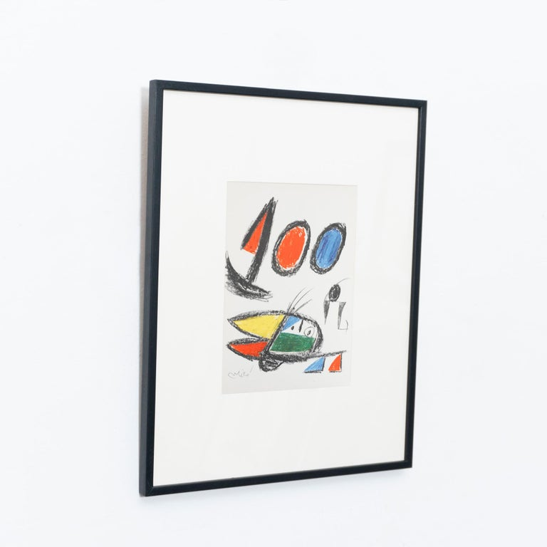 Mid-Century Modern Miró, Limited Edition Photolithography, circa 1970 For Sale