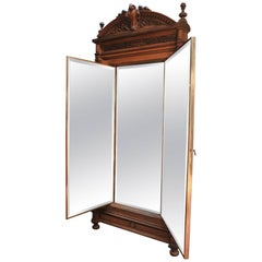 Miroir Brot French Triptyque Floor Mirror Solid Oak and Brass Door, circa 1900