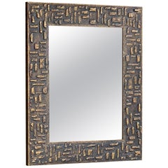 Mirror in Gold Painted Wood Patina, France, 1970