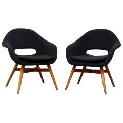 Miroslav Navrátil Bucket Lounge Chairs for Vertex in Nubby Black Upholstery