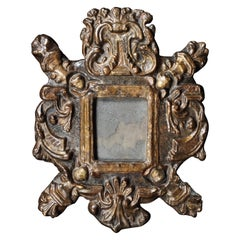Mirror, 17th Century, Small, Spanish, Gilded, Papier Mache, Original Plate