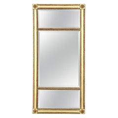 Mirror, 19th Century English Regency Gilded Tri-Panel Neoclassical Style