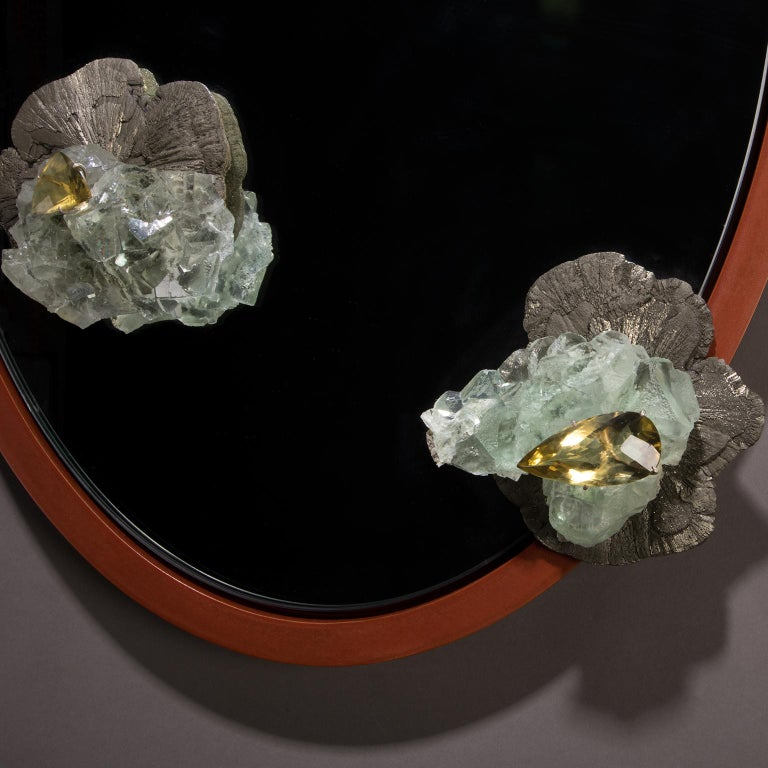 Pyrite, Fluorite and Citrine mirror with aluminum patina frame.