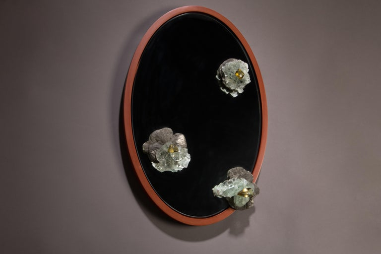 Modern Pyrite, Fluorite and Citrine Mirror with Aluminum Patina Frame For Sale