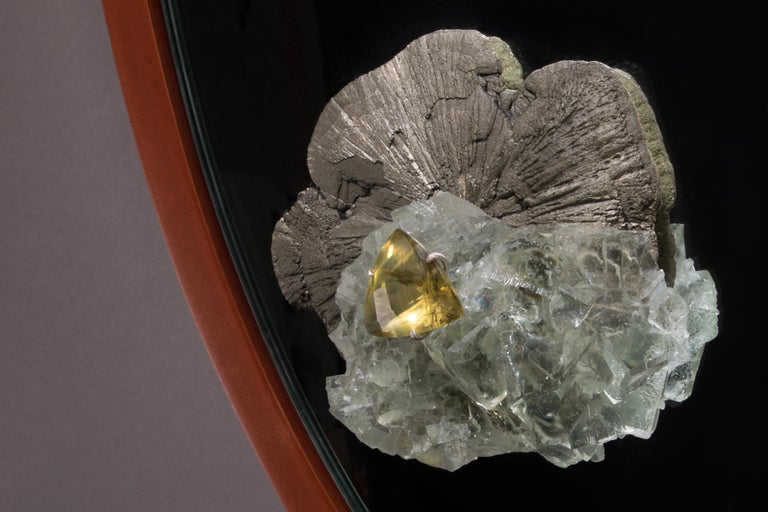 Pyrite, Fluorite and Citrine Mirror with Aluminum Patina Frame In New Condition For Sale In New York, NY