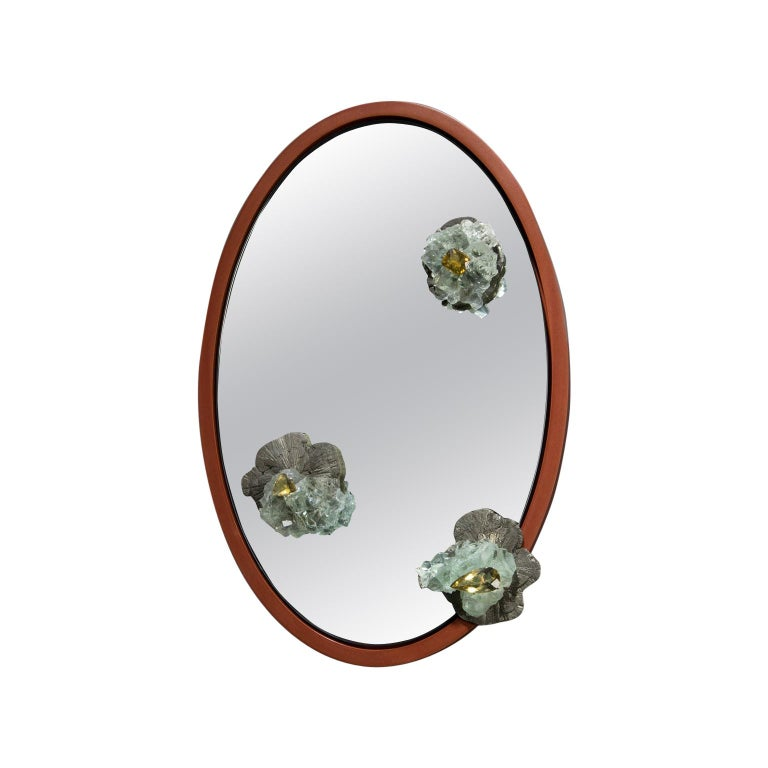 Pyrite, Fluorite and Citrine Mirror with Aluminum Patina Frame For Sale