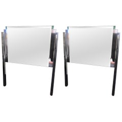 Mirror and Chrome Hollywood Regency Twin Headboards, Pair