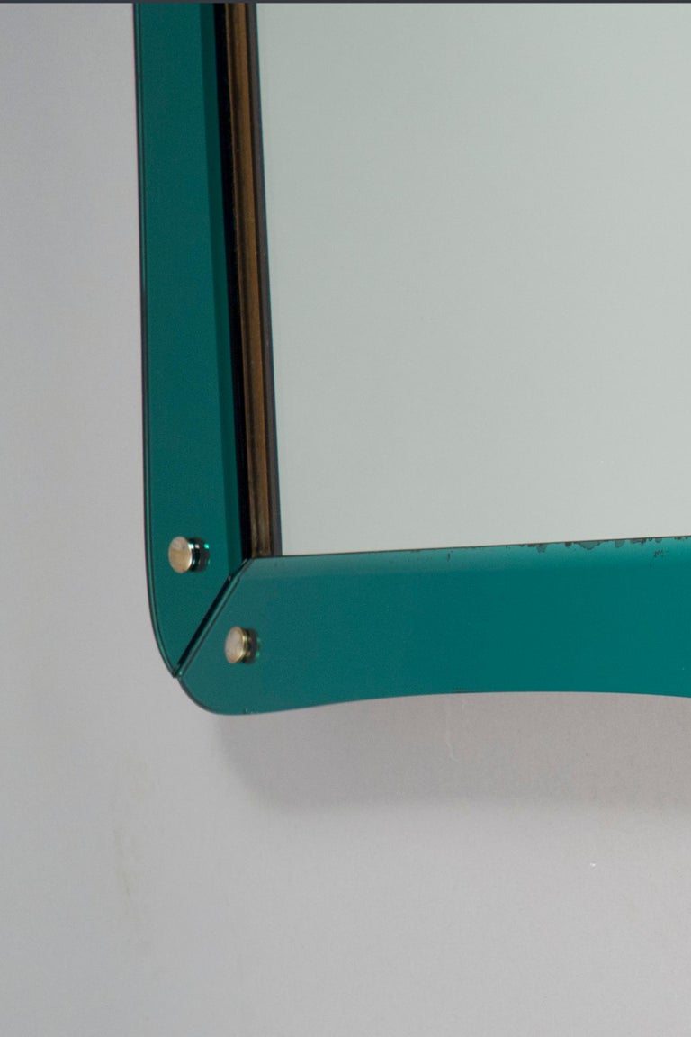 Mid-Century Modern Mirror Attributed to Cristal Art, Italy, circa 1960 For Sale