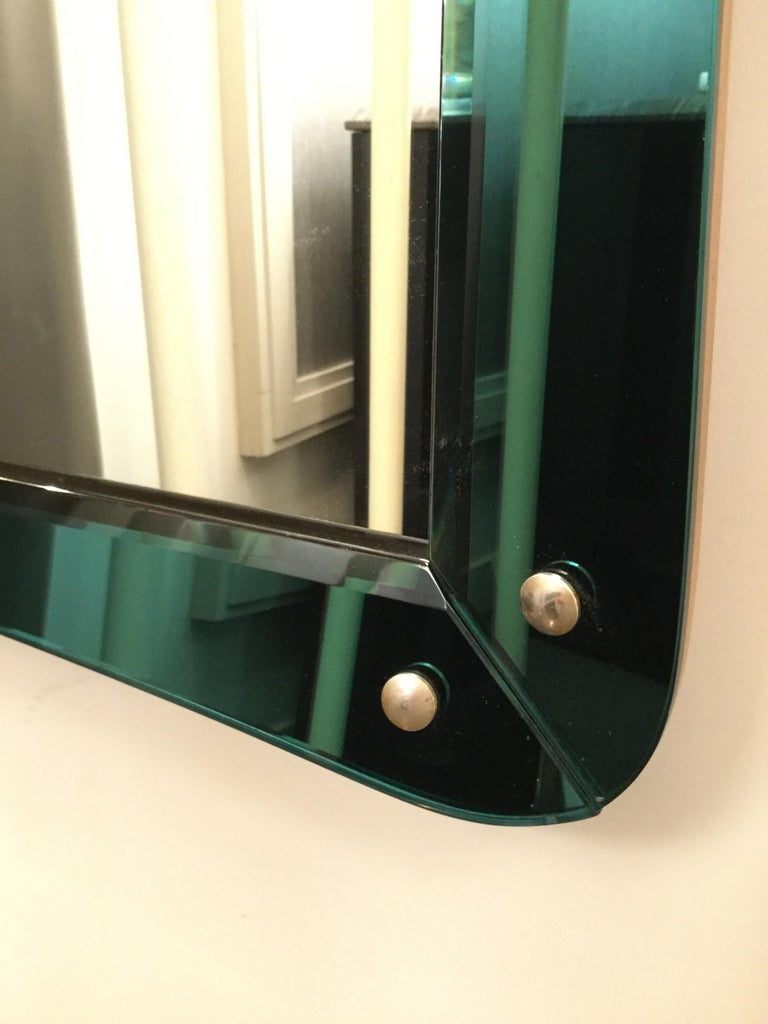 Metal Mirror Attributed to Cristal Art, Italy, circa 1960 For Sale