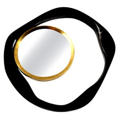 Mirror, Black Sea Shell with Brass Detail, in Stock, Organic Style, Contemporary