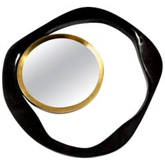 Mirror, Black Sea Shell with Brass Detail, Organic Style
