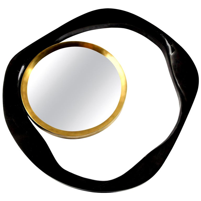 Mirror, Black Sea Shell with Brass Detail, Organic Style, Contemporary, In Stock For Sale