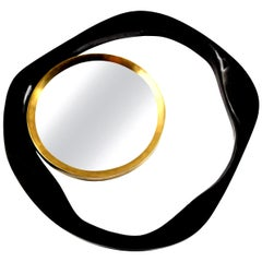 Mirror, Black Sea Shell with Brass Detail, Organic Style, in Stock, New