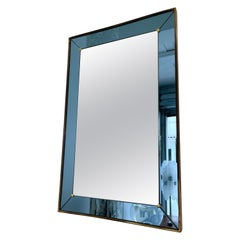 Mirror Blue and Brass by Cristal Art, Italy, 1960s