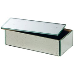 Mirror Box Container with Wooden Interior and Antiqued Silver Covering