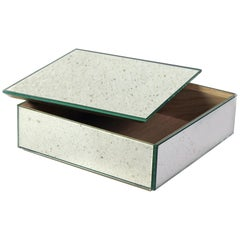 Mirror Box Container with Wooden Interior and Antiqued Silver Mirror Covering