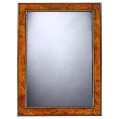 Mirror, Burr Walnut, Original Plate, Georgian, Flowerhead Beading
