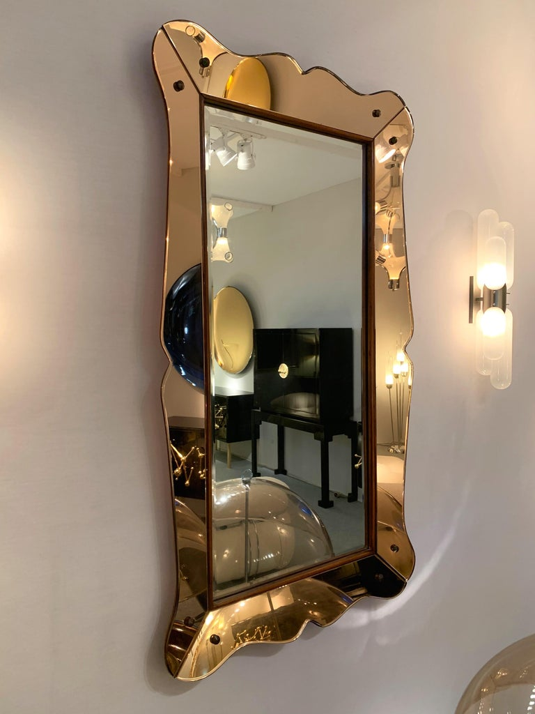 Mid-Century Modern Mirror by Cristal Art, Italy, 1960s For Sale