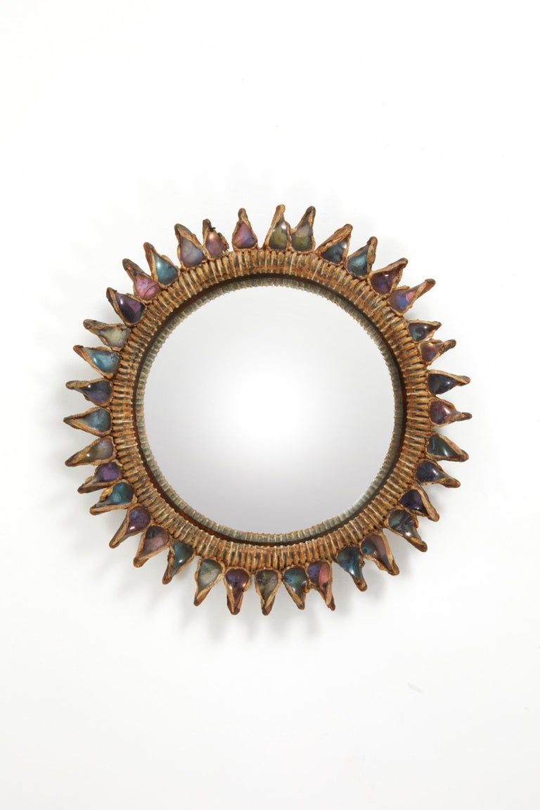 Circular convex mirror in talosel and tainted mirrors. Signed